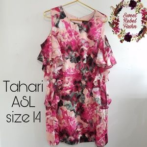 Tahari ASL Dress size 14 pink floral